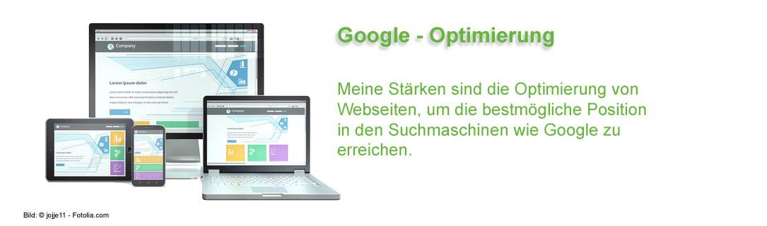 Meine Stärken sind die Optimierung von Webseiten, um die bestmögliche Position in den Suchmaschinen wie Google zu erreichen.